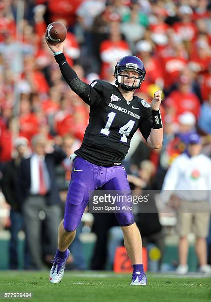TCU Horned Frogs quarterback Andy Dalton during the 97th Rose Bowl Game presented by VIZIO which featured the Texas Christian University Horned Frogs...