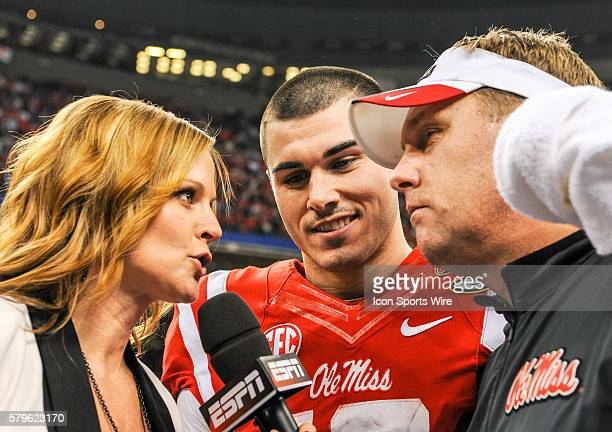 ESPN sideline reporter Shannon Spake interviews Ole Miss Rebels quarterback Chad Kelly and Ole Miss Rebels head coach Hugh Freeze following the 2016...