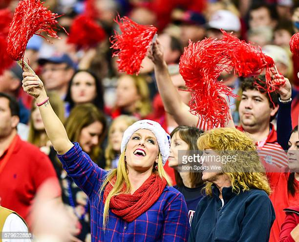 Wild Ole Miss fans during the 2016 Allstate Sugar Bowl featuring the Oklahoma State Cowboys vs Ole Miss Rebels at the MercedesBenz Superdome New...