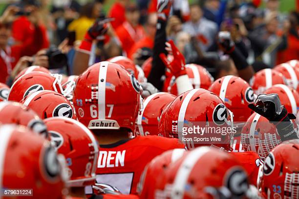 The Georgia Bulldogs take the field prior to the Tax Slayer Gator bowl at Everbank Field in Jacksonville Florida