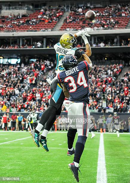 Houston Texans Cornerback AJ Bouye breaks up a pass intended for Jacksonville Jaguars Wide Receiver Rashad Greene during the Jaguars at Texans game...