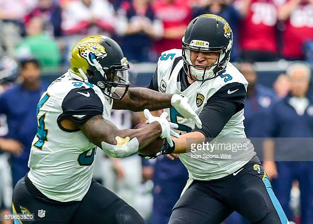 Jacksonville Jaguars Quarterback Blake Bortles hands off to Jacksonville Jaguars Running Back Jonas Gray during the Jaguars at Texans game at NRG...