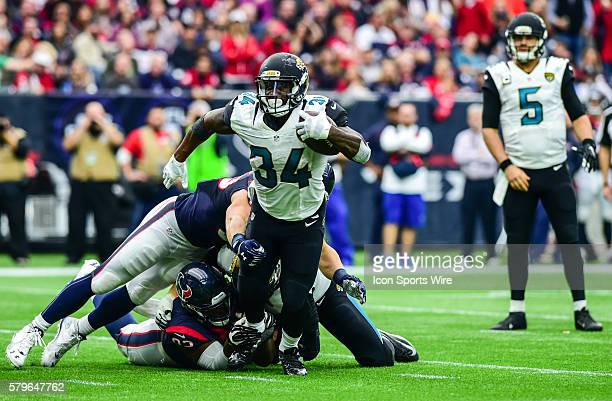 Jacksonville Jaguars Running Back Jonas Gray breaks a tackle during the Jaguars at Texans game at NRG Stadium Houston Texas