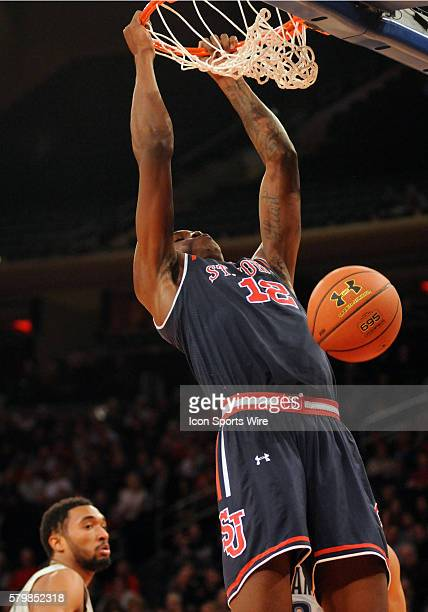 StJohns forward Chris Obekpa slams home a big dunk during first half actionThe game was played at Madison Square Garden in New York NY