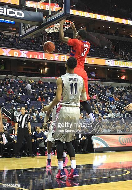 DePaul Blue Demons forward Rashaun Stimage scores during a men's Big East basketball match at Verizon Center in Washington DC Georgetown defeated...