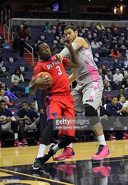Georgetown Hoyas center Bradley Hayes blocks DePaul Blue Demons forward Rashaun Stimage during a men's Big East basketball match at Verizon Center in...