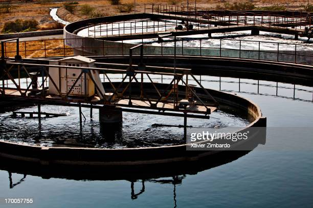 A textile sewage treatment plant on January 09 2012 in Rajasthan India Textile sewage is loaded with several chemicals used in the dyeing and...
