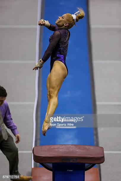 January 09 LSU Tigers Julianna Cannamela on the vault during the NCAA gymnastics meet between the Oklahoma Sooners and the LSU Tigers at Pete...