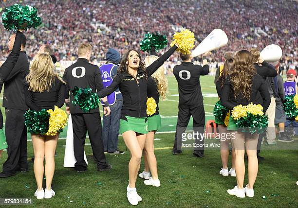 Oregon cheerleaders during the Oregon Ducks 5920 defeat of the Florida State Seminoles in their College Football Playoff Semifinal played in the Rose...