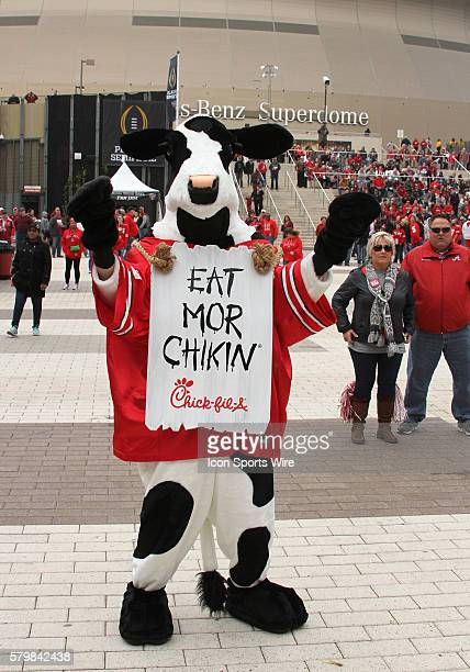 The ChickfilA mascot greets fans for pre game fun during the Ohio State Buckeyes game versus the Alabama Crimson Tide in their College Football...