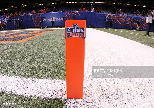An end zone marker during the Allstate Sugar Bowl between the Ole Miss Rebels and the Oklahoma State Cowboys at the MercedesBenz Superdome in New...
