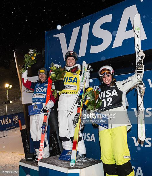 Womens podium from the dual mogul event 1st place DUFOURLAPOINTE Justine CAN 2nd place KEARNEY Hannah USA and 3rd place COX Britteny AUS during the...