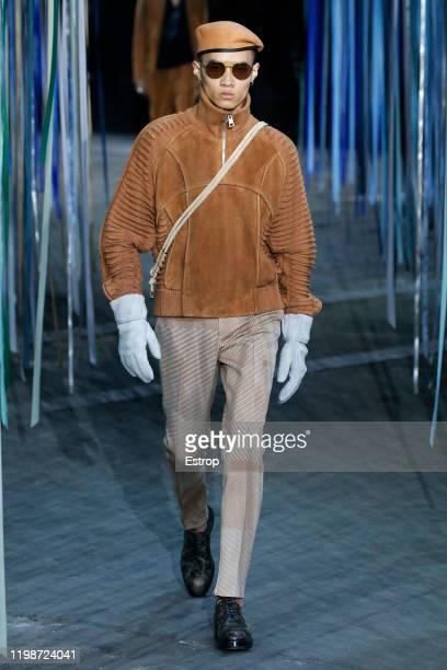 January 10: A model walks the runway at the Ermenegildo Zegna show during Milano Fashion Week Men's at Fonderia Macchi on January 10, 2020 Milano,...