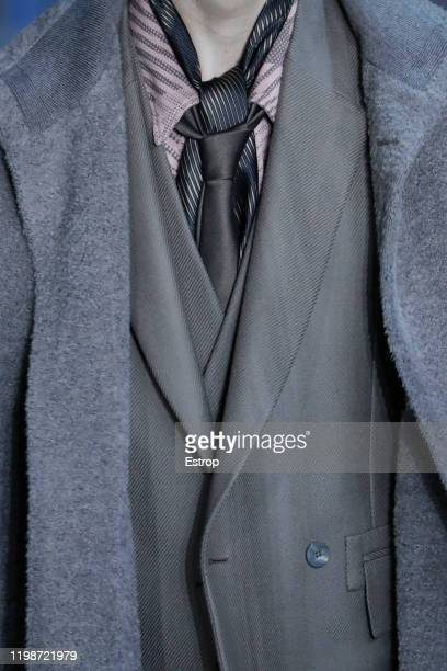 January 10: Clothing detail at the Ermenegildo Zegna show during Milano Fashion Week Men's at Fonderia Macchi on January 10, 2020 Milano, Italy.