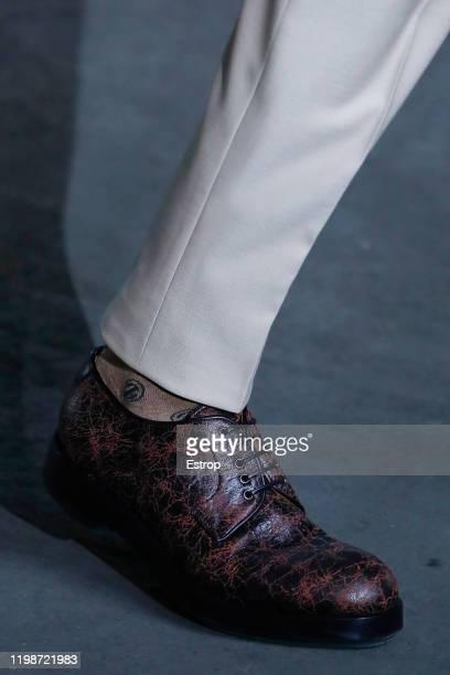 January 10: Shoe detail at the Ermenegildo Zegna show during Milano Fashion Week Men's at Fonderia Macchi on January 10, 2020 Milano, Italy.