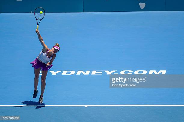 Elina Svitolina servers against Angelique Kerber during her first round match of the 2016 Apia International. Sydney Olympic Park, Australia.