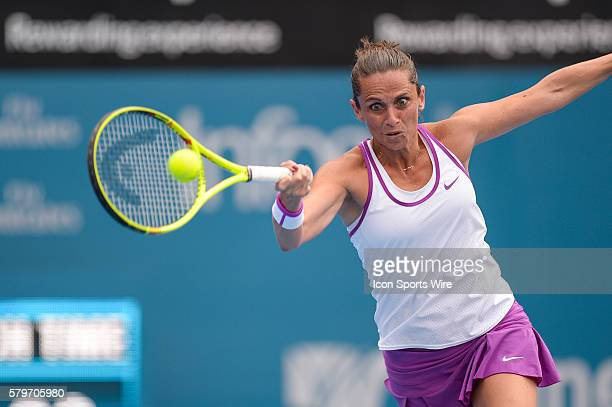 Roberta Vinci plays a forhand during her first round of the 2016 Apia International. Sydney Olympic Park, Australia.
