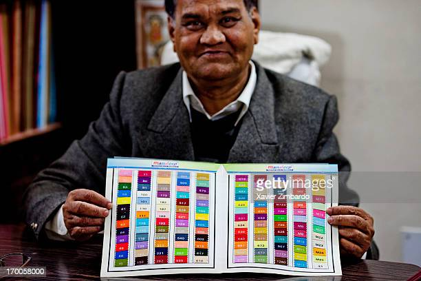 An officer displays a colours catalogue on January 11 2012 at a fabric dyeing factory in Rajasthan India Each shade of colour has been assigned a...