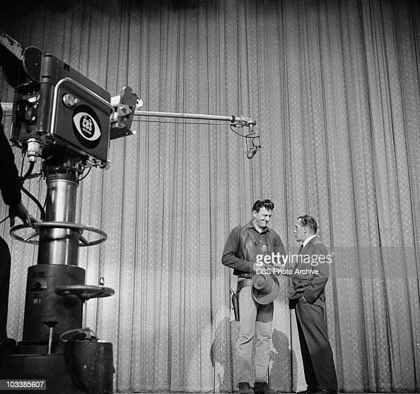 January 12 1958 James Arness talks with Ed Sullivan on THE ED SULLIVAN SHOW