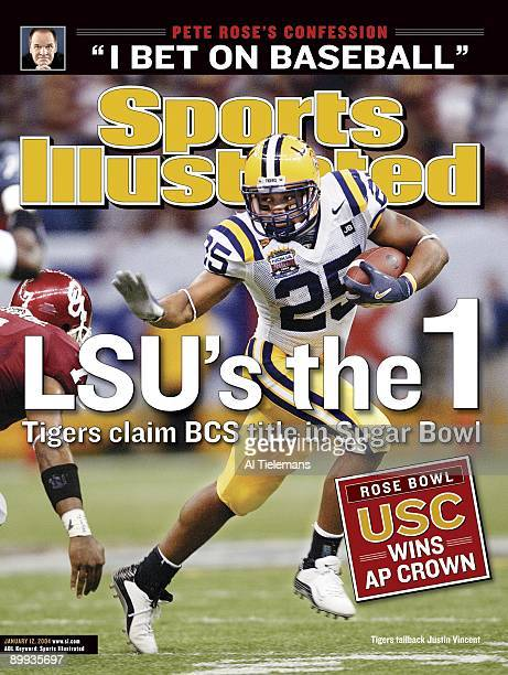 January 12 2004 Sports Illustrated Cover College Football Sugar Bowl Louisiana State Justin Vincent in action rushing vs Oklahoma New Orleans LA...
