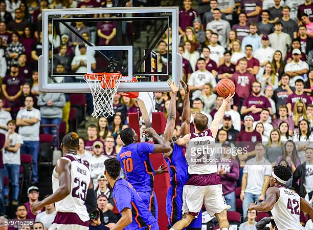 Texas AM Aggies guard Alex Caruso attempts a shot during the Florida Gators vs Texas AM Aggies basketball game at Reed Arena College Station Texas
