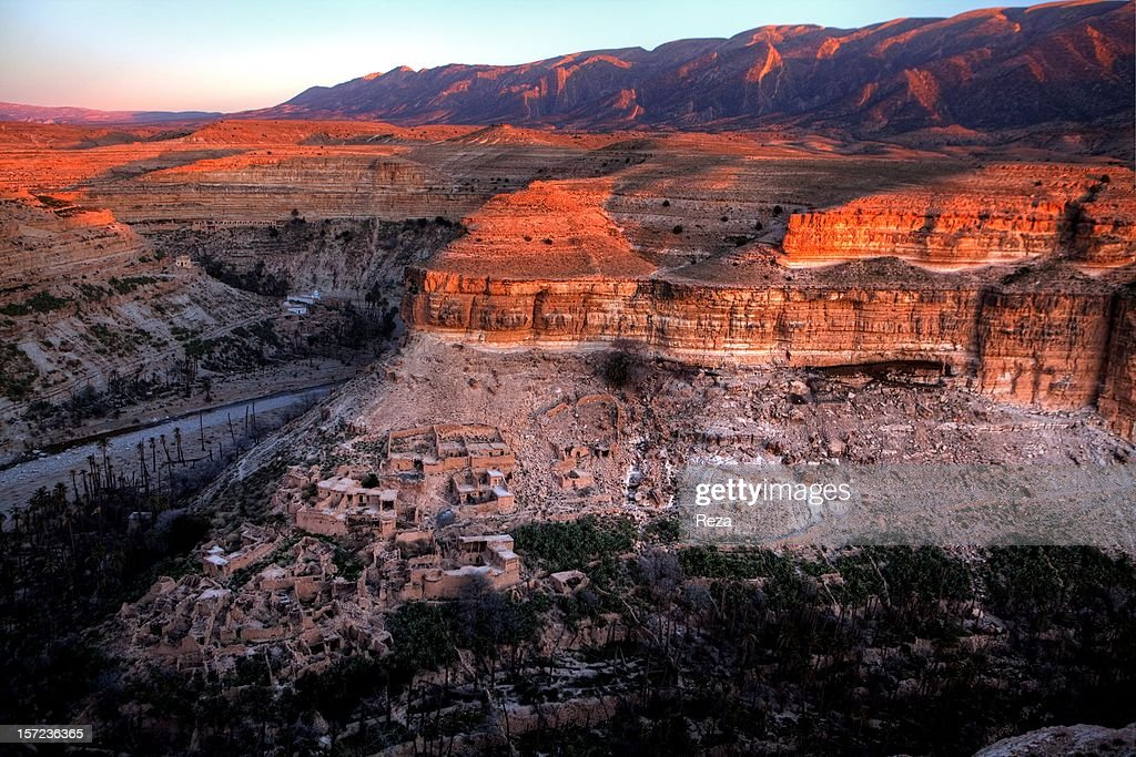 January 12th, 2011, village of Batna, Algeria. Ghoufi (or the Balncos of Ghoufi or the Canyon of Ghoufi (pronounced 'Rhoufi') is a touristic site in the Aures of Algeria. The Village of Ghoufi belongs to the Ghassira community in the Wilaya of Batna.