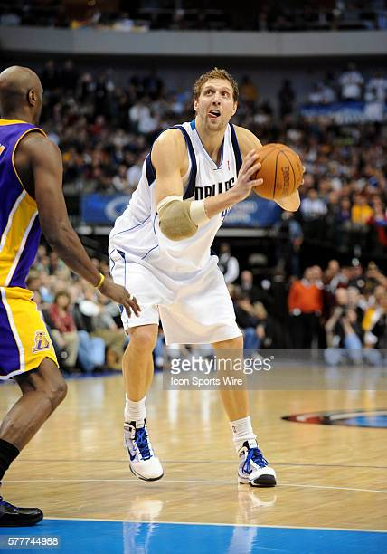 Dallas Mavericks forward Dirk Nowitzki surpasses 20000 points in his career during an NBA game between the Los Angeles Lakers and the Dallas...