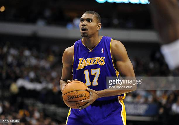 Los Angeles Lakers center Andrew Bynum prepares to shoot free throws during an NBA game between the Los Angeles Lakers and the Dallas Mavericks at...