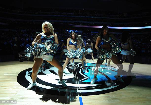 Mavericks dancers perform during introductions before an NBA game between the Los Angeles Lakers and the Dallas Mavericks at the American Airlines...