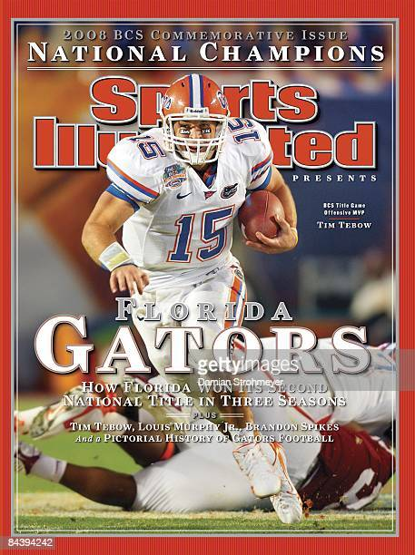 January 13, 2009 Sports Illustrated via Getty Images Cover: College Football: BCS National Championship: Florida QB Tim Tebow in action vs Oklahoma....