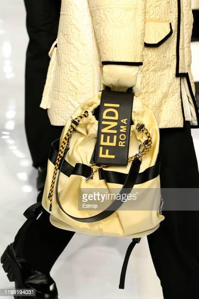January 13: Bag detail at Fendi show during Milano Fashion Week Men's at Fondazione Arnaldo Pomodoro on January 13, 2020 Milano, Italy.