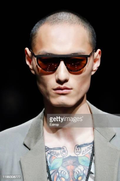 January 13: Headshot at Giorgio Armani show during Milano Fashion Week Men's at Teatro Armani on January 13, 2020 Milano, Italy.