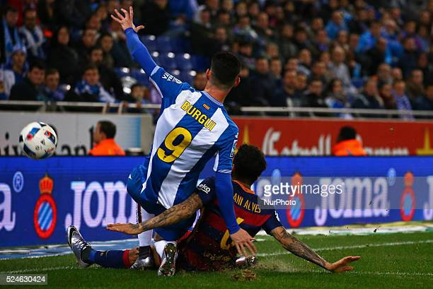 Javier Burgui and Dani Alves during the match between RCD Espanyol and FC Barcelona corresponding to the secong legt of the 1/8 final of the spanish...