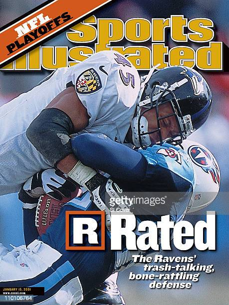 January 15 2001 Sports Illustrated CoverFootball AFC Playoffs Baltimore Ravens Corey Harris in action making tackle vs Tennessee Titans Yancey...