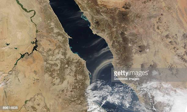 january 15, 2009 - dust plumes blow off the coast of saudi arabia and over the red sea.  - red sea stock pictures, royalty-free photos & images