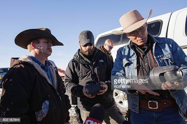 January 15 2016 in Burns Oregon LaVoy Finicum holds a remote camera location near the occupied Malheur National Wildlife Refuge Headquarters / AFP /...