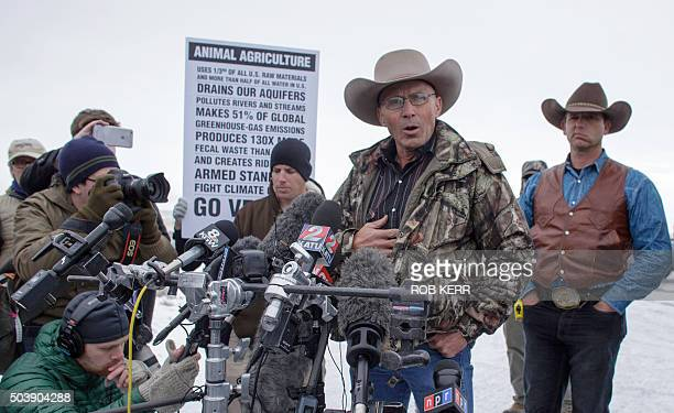 January 15 2016 in Burns Oregon LaVoy Finicum speaks to the media near the occupied Malheur National Wildlife Refuge Headquarters / AFP / ROB KERR