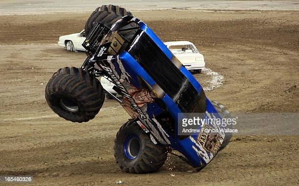 January 16 2010 Bounty Hunter rolls during final against Grave Digger during a Monster Truck event at the Rogers Centre