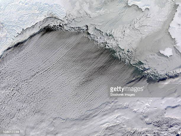 January 16, 2010 - Sea ice and cloud streets in the Bering Sea.