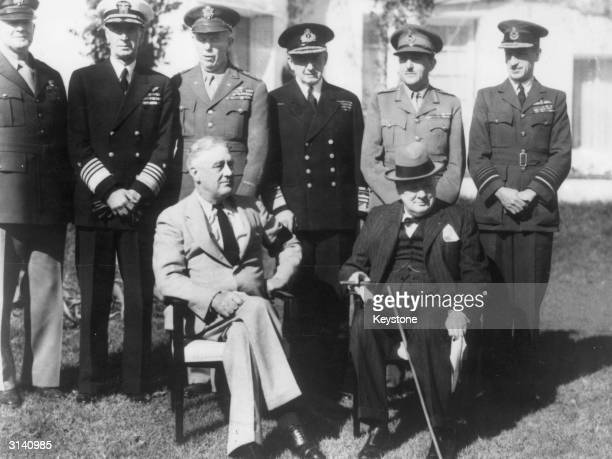 At the Casablanca Conference. Seated l to r; President Franklin Delano Roosevelt 32nd President of the USA and Prime Minister Winston Churchill ....
