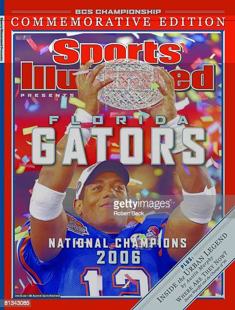 January 17 2007 Sports Illustrated Cover College Football BCS National Championship Closeup of Florida QB Chris Leak victorious with trophy after...