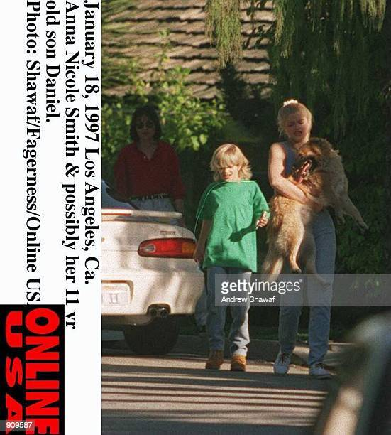 January 18 1997 Los Angeles Anna Nicole Smith and possibly her 11 year old son Daniel from her teenage marriage to husband Billy Smith their pet dog...