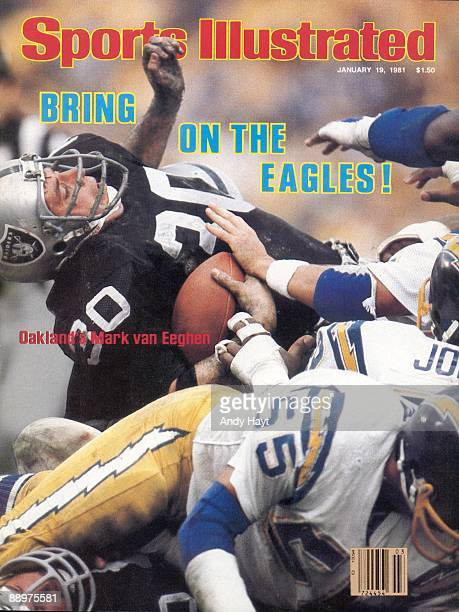 January 19 1981 Sports Illustrated Cover Football AFC Playoffs Oakland Raiders Mark van Eeghen in action during tackle by San Diego Chargers San...