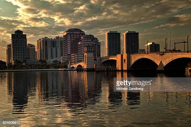 January 19 2010 West Palm Beach Skyline At Sunset Photographed from Palm Beach Island