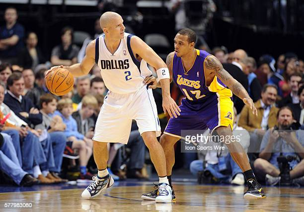Dallas Mavericks point guard Jason Kidd is guarded by Los Angeles Lakers point guard Shannon Brown in an NBA game between the Los Angeles Lakers and...
