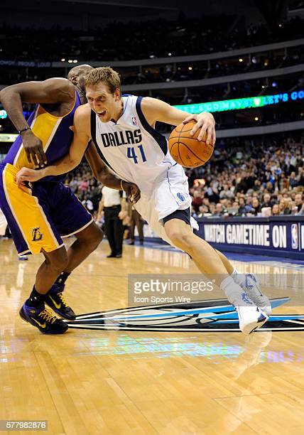 Dallas Mavericks power forward Dirk Nowitzki drives the base line and finished with 14 points in an NBA game between the Los Angeles Lakers and the...