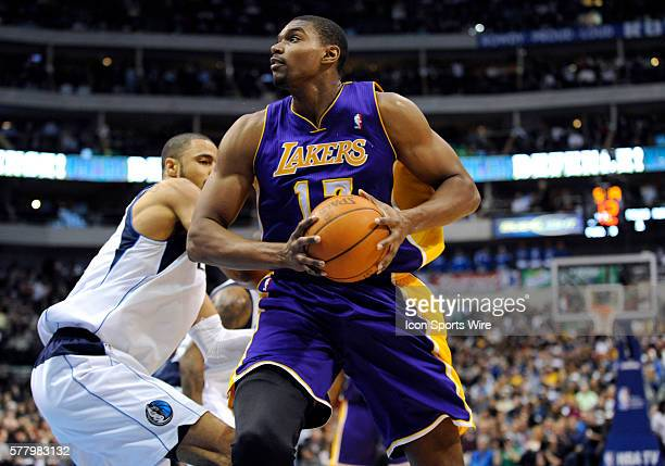 Los Angeles Lakers center Andrew Bynum in the post in an NBA game between the Los Angeles Lakers and the Dallas Mavericks at the American Airlines...
