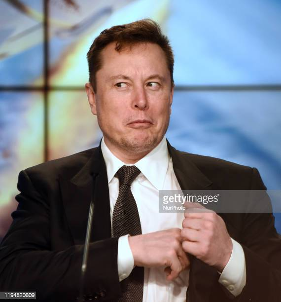 January 19 2020 Kennedy Space Center Florida United States SpaceX CEO Elon Musk reacts to a question from the media at a press conference following...