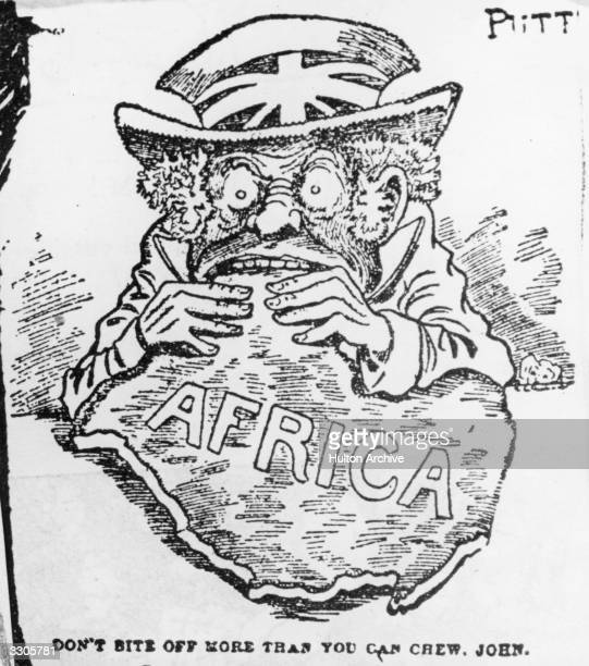 Caricature of John Bull eating Africa. The caption reads; 'Don't bite off more than you can chew, John.' Original Publication: The Tribune - pub.1900