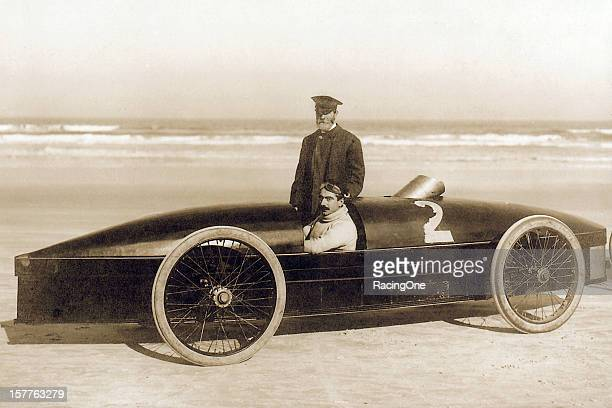 Fred Marriott of Needham MA at the wheel of the Stanley Rocket steampowered car On January 26 he set the world land speed record at 127659mph on...